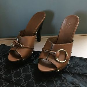 Gucci Brown Leather Horse Bit Platforms